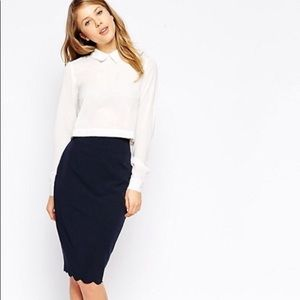 NWTS ASOS Pencil Skirt with Scalloped hem